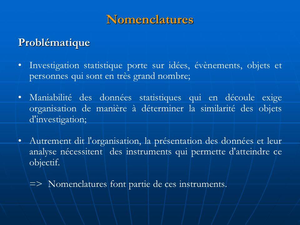 Nomenclatures Problématique Investigation statistique porte sur idées, évènements, objets et personnes qui sont en très grand nombre; Maniabilité des