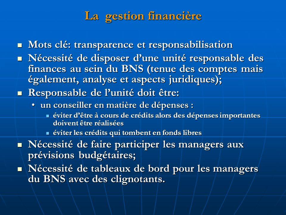 La gestion financière Mots clé: transparence et responsabilisation Mots clé: transparence et responsabilisation Nécessité de disposer dune unité respo