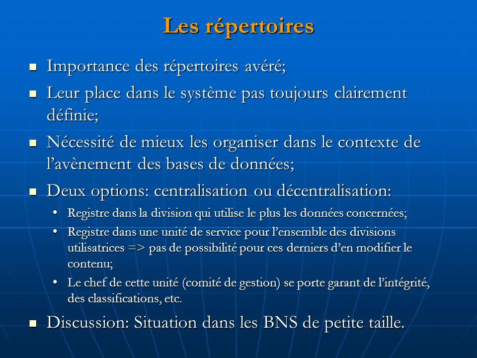 Les répertoires Importance des répertoires avéré; Importance des répertoires avéré; Leur place dans le système pas toujours clairement définie; Leur p