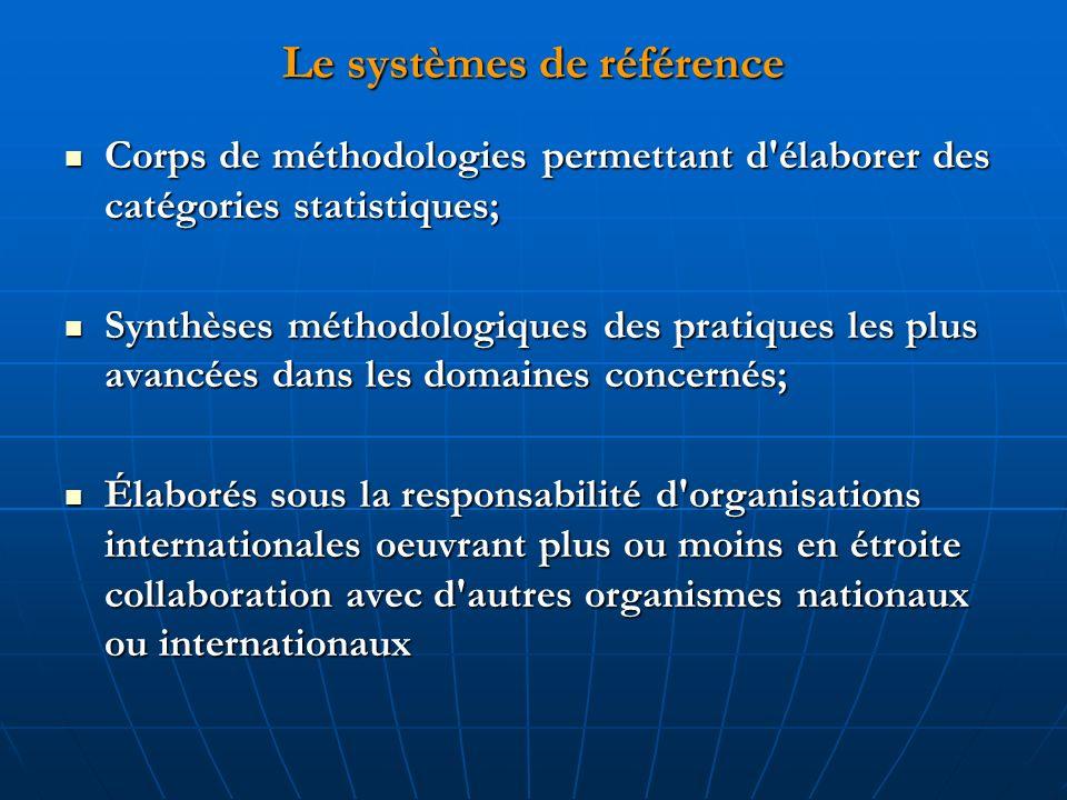 Le systèmes de référence Corps de méthodologies permettant d'élaborer des catégories statistiques; Corps de méthodologies permettant d'élaborer des ca