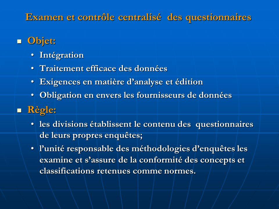Examen et contrôle centralisé des questionnaires Objet: Objet: IntégrationIntégration Traitement efficace des donnéesTraitement efficace des données E