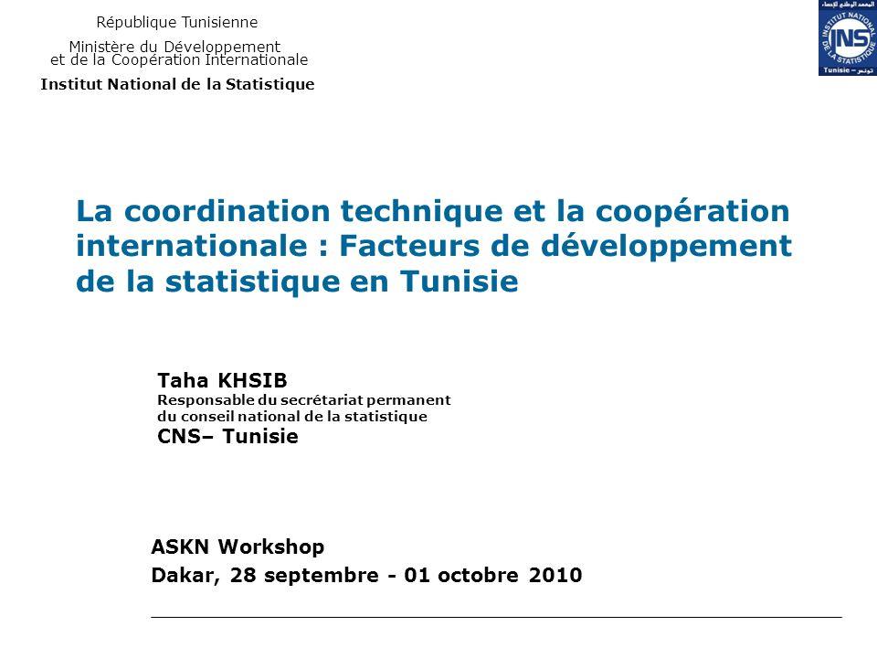 La coordination technique et la coopération internationale : Facteurs de développement de la statistique en Tunisie ASKN Workshop Dakar, 28 septembre