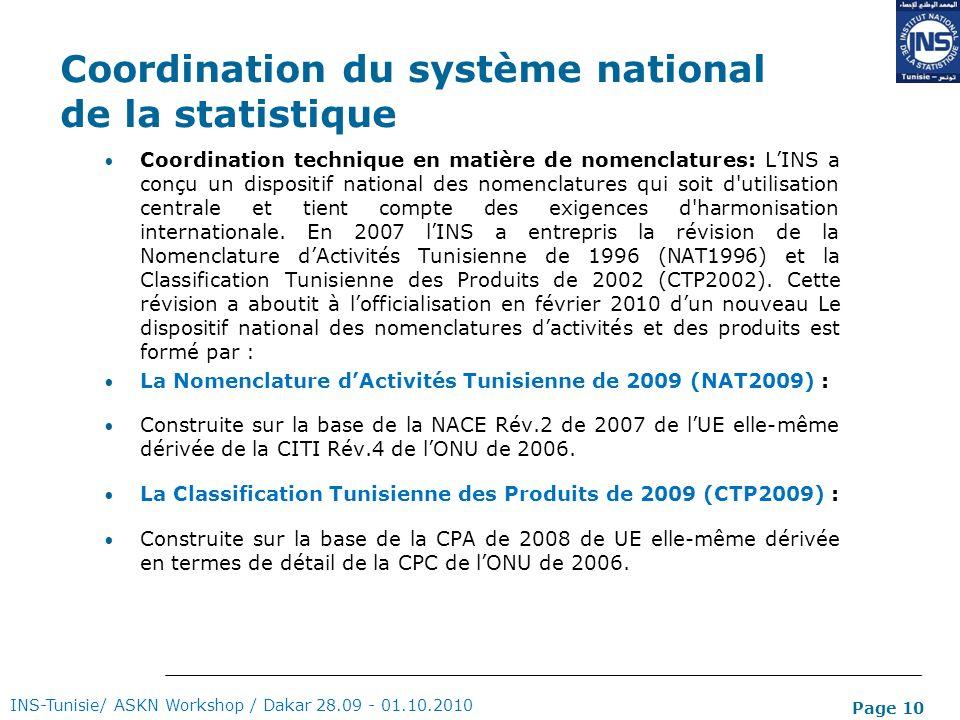 Page 10 Coordination du système national de la statistique Coordination technique en matière de nomenclatures: LINS a conçu un dispositif national des