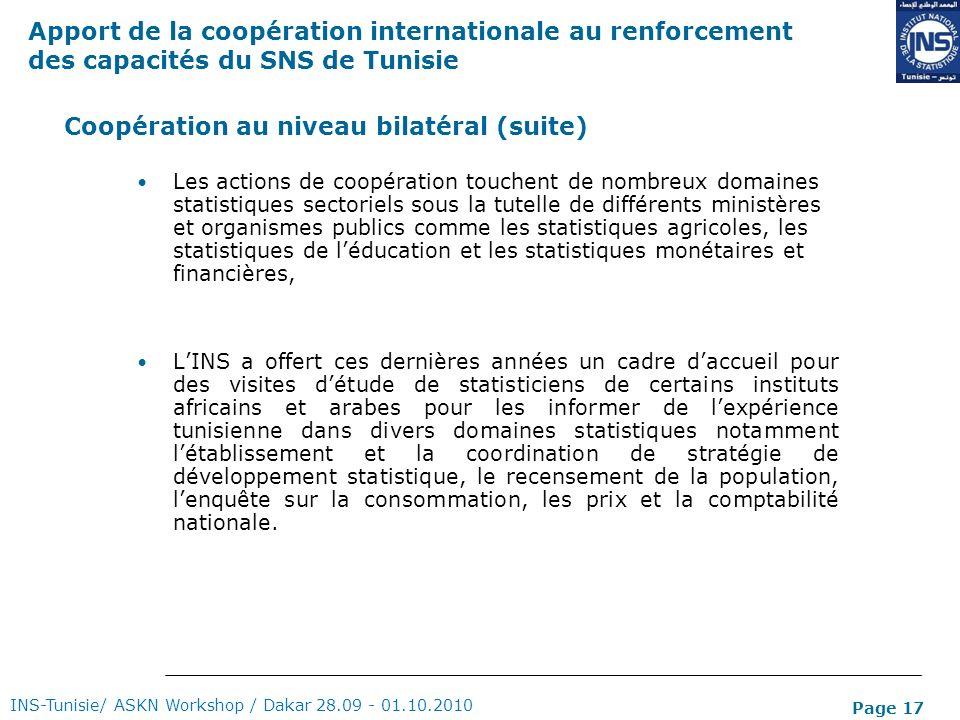 Page 17 Coopération au niveau bilatéral (suite) Les actions de coopération touchent de nombreux domaines statistiques sectoriels sous la tutelle de di