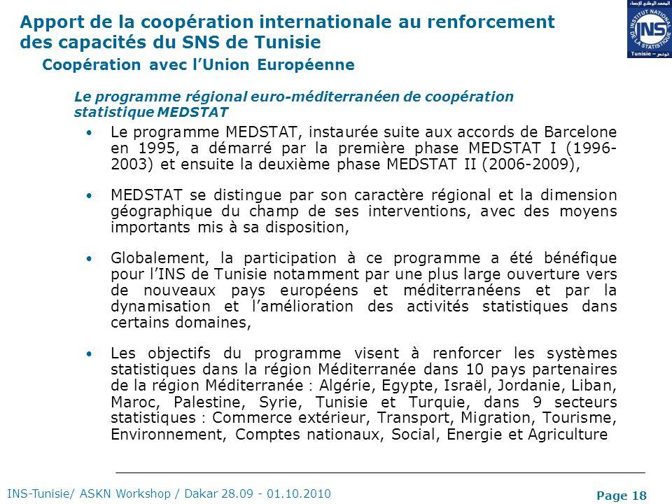 Page 18 Coopération avec lUnion Européenne Le programme MEDSTAT, instaurée suite aux accords de Barcelone en 1995, a démarré par la première phase MED