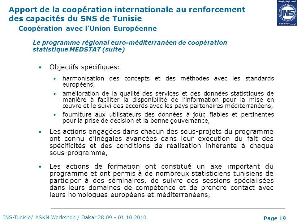Page 19 Coopération avec lUnion Européenne INS-Tunisie/ ASKN Workshop / Dakar 28.09 - 01.10.2010 Le programme régional euro-méditerranéen de coopérati
