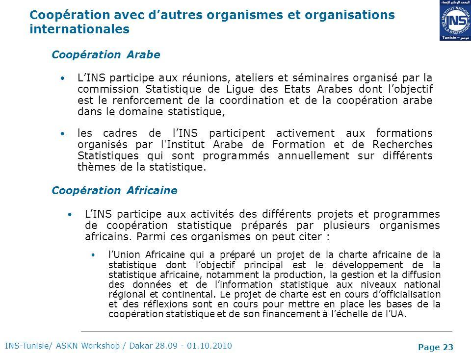 Page 23 Coopération avec dautres organismes et organisations internationales LINS participe aux réunions, ateliers et séminaires organisé par la commi
