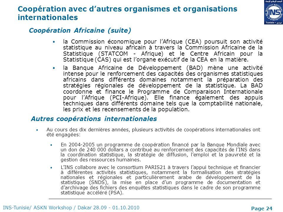 Page 24 Coopération avec dautres organismes et organisations internationales INS-Tunisie/ ASKN Workshop / Dakar 28.09 - 01.10.2010 Coopération Africai