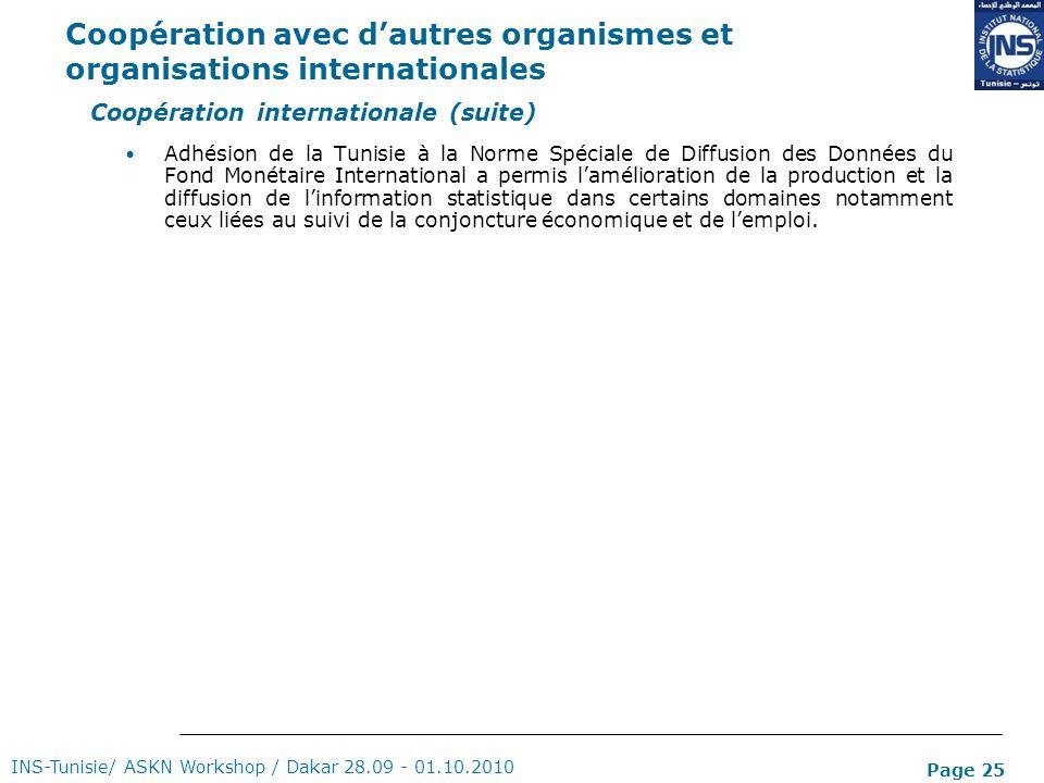 Page 25 Coopération avec dautres organismes et organisations internationales INS-Tunisie/ ASKN Workshop / Dakar 28.09 - 01.10.2010 Coopération interna