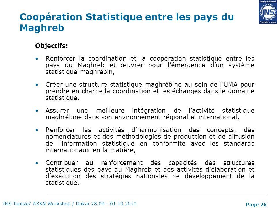 Page 26 Coopération Statistique entre les pays du Maghreb Objectifs: Renforcer la coordination et la coopération statistique entre les pays du Maghreb
