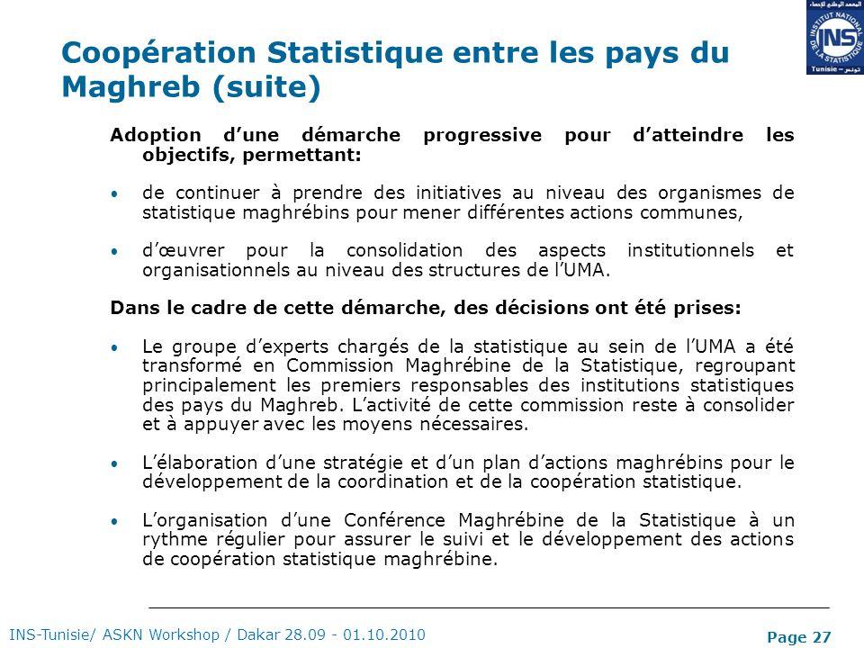 Page 27 Coopération Statistique entre les pays du Maghreb (suite) Adoption dune démarche progressive pour datteindre les objectifs, permettant: de con