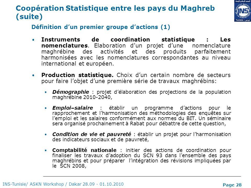 Page 28 Coopération Statistique entre les pays du Maghreb (suite) Instruments de coordination statistique : Les nomenclatures. Elaboration dun projet