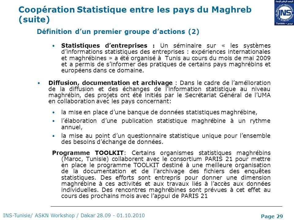Page 29 Coopération Statistique entre les pays du Maghreb (suite) Statistiques dentreprises : Un séminaire sur « les systèmes dinformations statistiqu