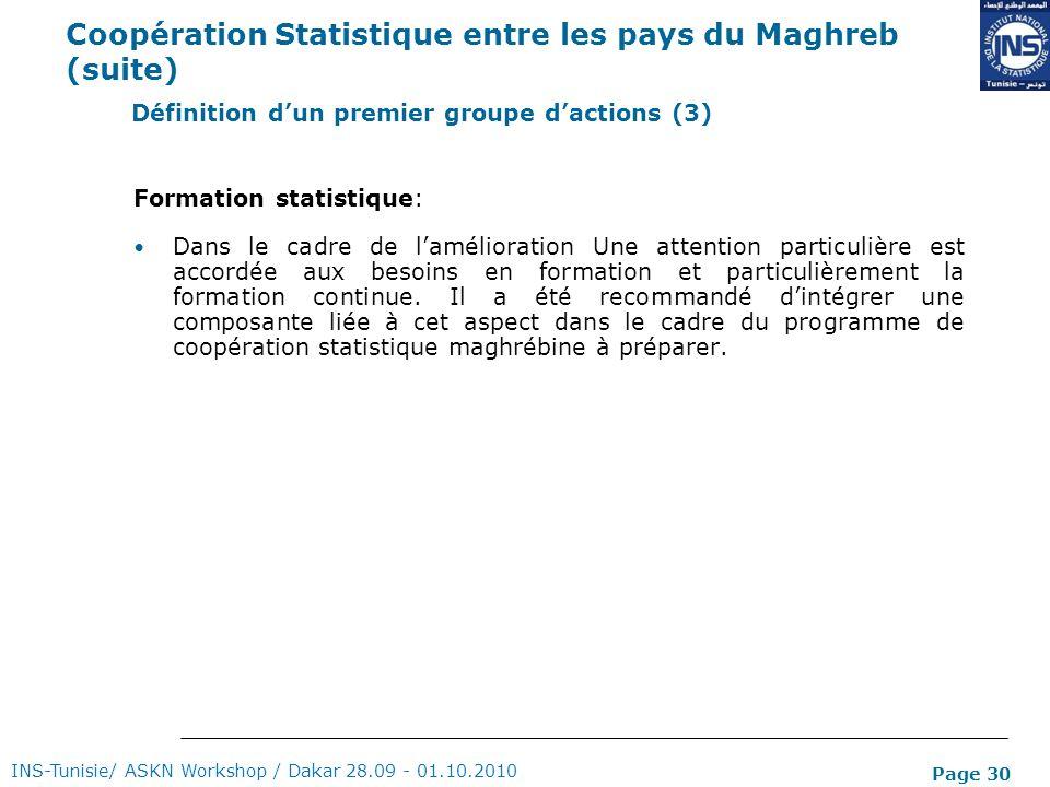 Page 30 Coopération Statistique entre les pays du Maghreb (suite) Formation statistique: Dans le cadre de lamélioration Une attention particulière est
