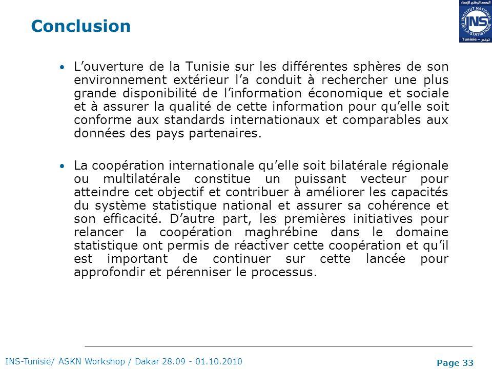 Page 33 Conclusion Louverture de la Tunisie sur les différentes sphères de son environnement extérieur la conduit à rechercher une plus grande disponi