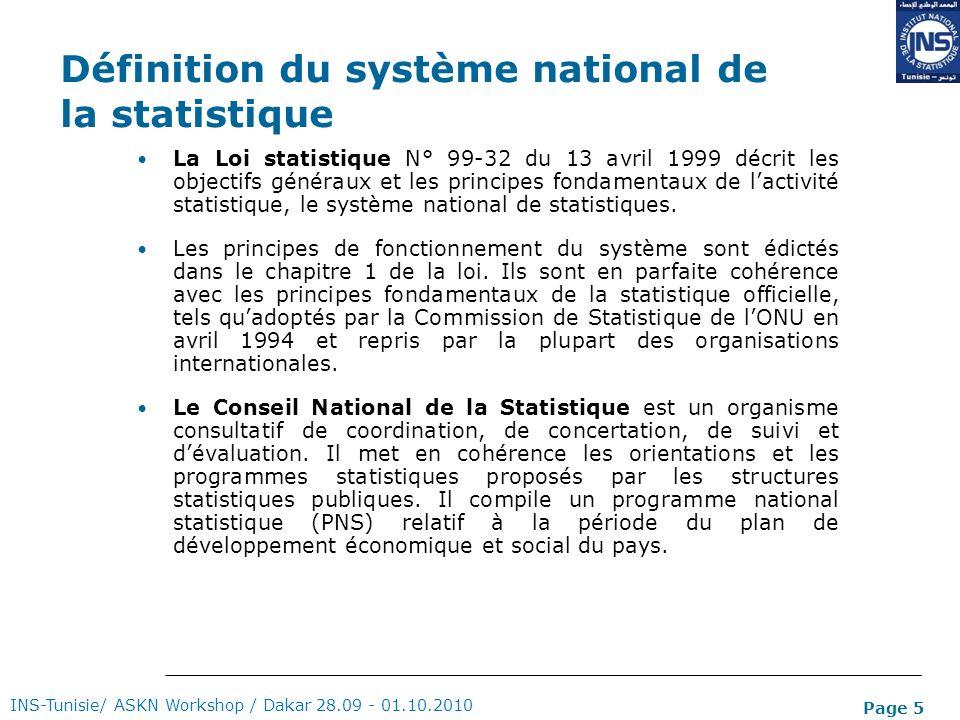 Page 5 Définition du système national de la statistique La Loi statistique N° 99-32 du 13 avril 1999 décrit les objectifs généraux et les principes fo