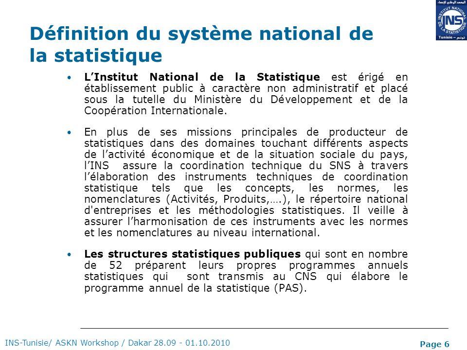 Page 6 Définition du système national de la statistique LInstitut National de la Statistique est érigé en établissement public à caractère non adminis