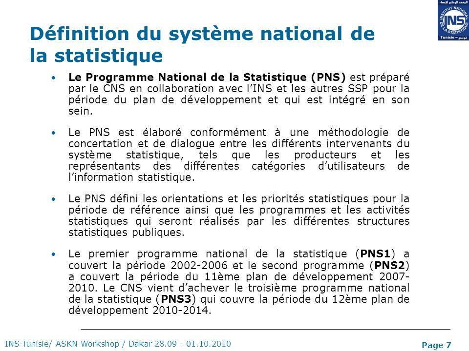 Page 7 Définition du système national de la statistique Le Programme National de la Statistique (PNS) est préparé par le CNS en collaboration avec lIN