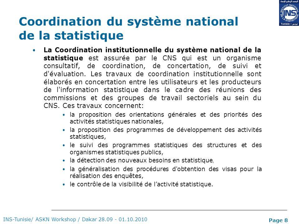 Page 8 Coordination du système national de la statistique La Coordination institutionnelle du système national de la statistique est assurée par le CN