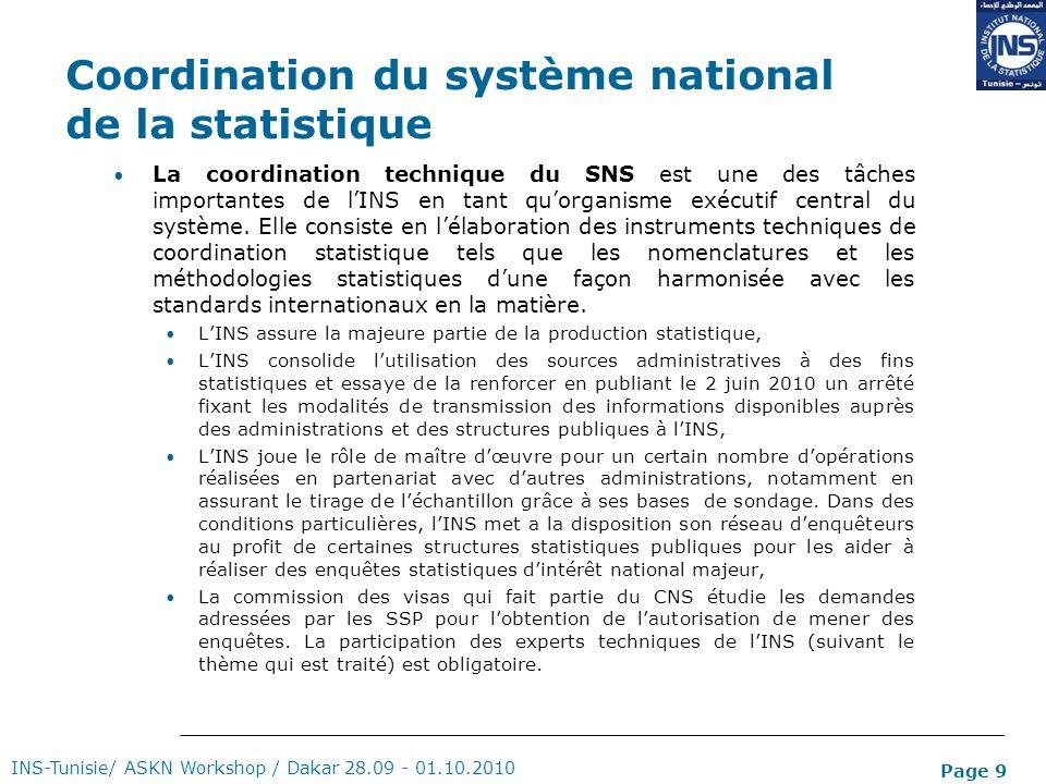 Page 9 Coordination du système national de la statistique La coordination technique du SNS est une des tâches importantes de lINS en tant quorganisme
