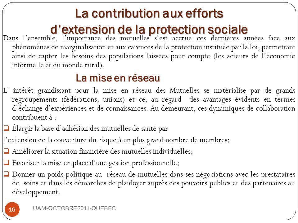 UAM-OCTOBRE2011-QUEBEC 15 Ex : Au Maroc la MGPAP (Mutuelle Générale du Personnel des Administrations Publiques) est une des mutuelles qui a développé