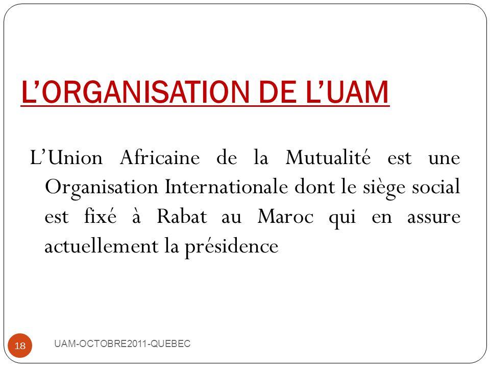 III-LUAM, UN INSTRUMENT DE MISE EN RESEAU DU MOUVEMENT MUTUALISTE EN AFRIQUE UAM-OCTOBRE2011-QUEBEC 17