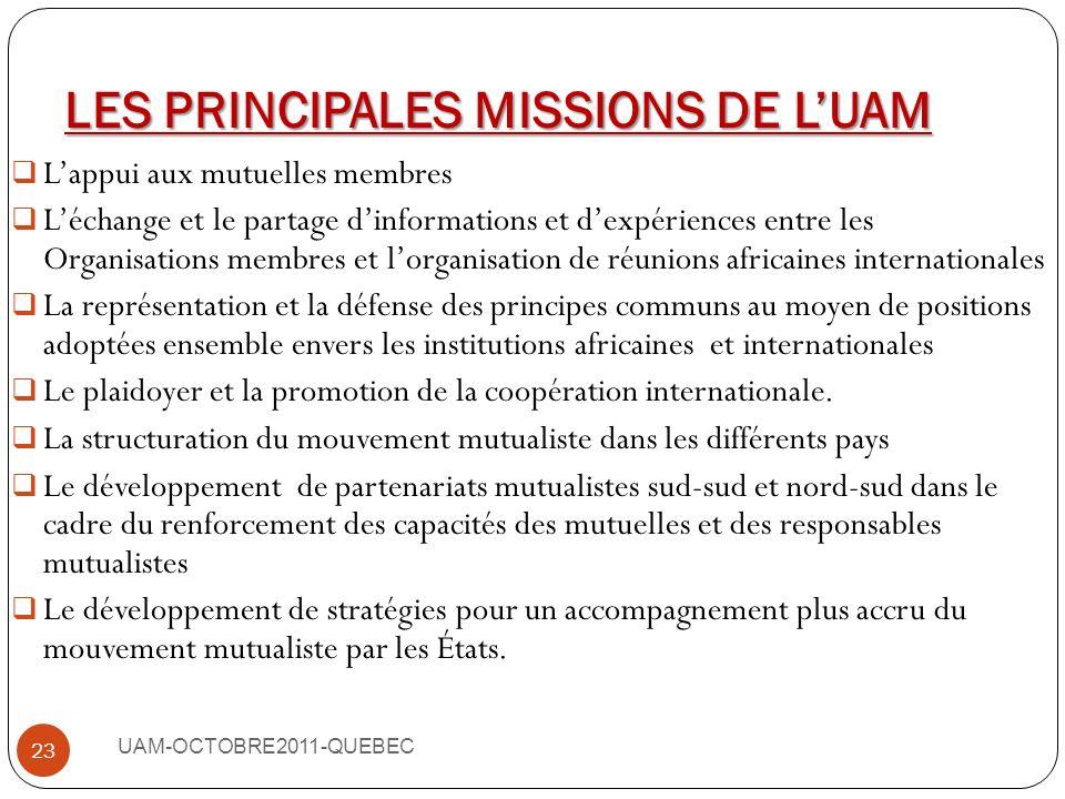 LES OBJECTIFS DE LUAM UAM-OCTOBRE2011-QUEBEC 22 Diffuser dans tous les pays africains, les principes dont sinspire la Mutualité dans lassurance maladi