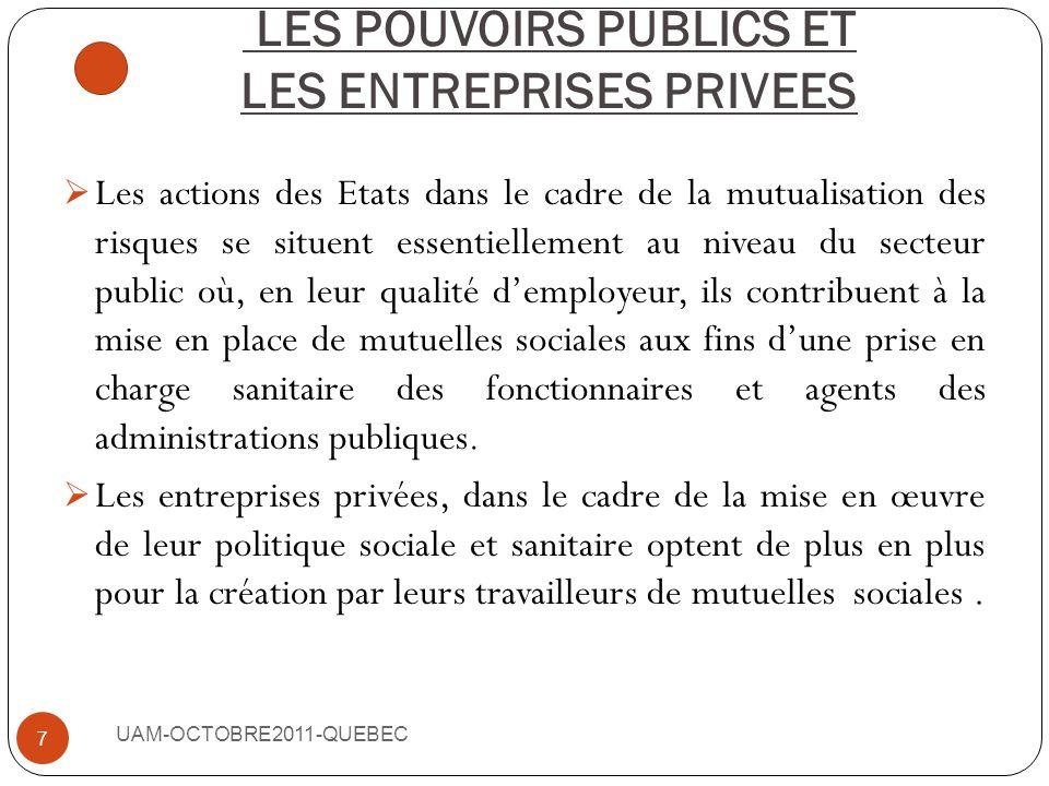 I- LES ACTUERS DU MOUVEMENT MUTUALISTE UAM-OCTOBRE2011-QUEBEC 6 LES POUVOIRS PUBLICS ET LES ENTREPRISES PRIVEES, LES POPULATIONS LES PARTENAIRES AU DE