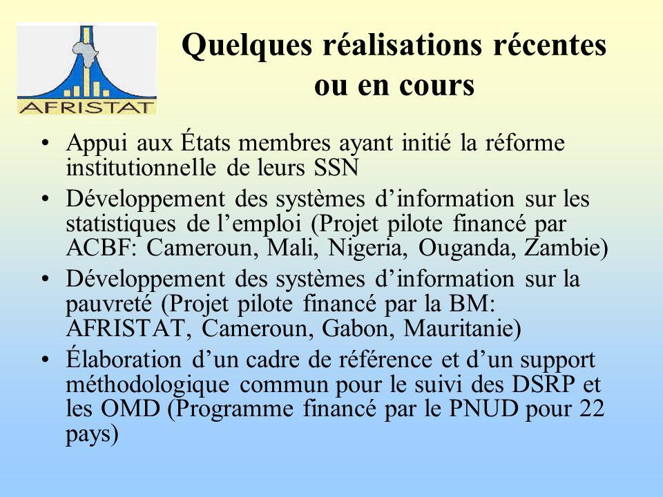 Quelques réalisations récentes ou en cours Appui aux États membres ayant initié la réforme institutionnelle de leurs SSN Développement des systèmes dinformation sur les statistiques de lemploi (Projet pilote financé par ACBF: Cameroun, Mali, Nigeria, Ouganda, Zambie) Développement des systèmes dinformation sur la pauvreté (Projet pilote financé par la BM: AFRISTAT, Cameroun, Gabon, Mauritanie) Élaboration dun cadre de référence et dun support méthodologique commun pour le suivi des DSRP et les OMD (Programme financé par le PNUD pour 22 pays)