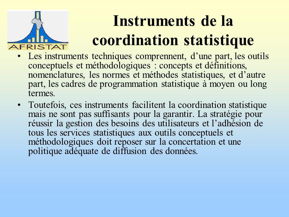 Instruments de la coordination statistique Les instruments techniques comprennent, dune part, les outils conceptuels et méthodologiques : concepts et définitions, nomenclatures, les normes et méthodes statistiques, et dautre part, les cadres de programmation statistique à moyen ou long termes.