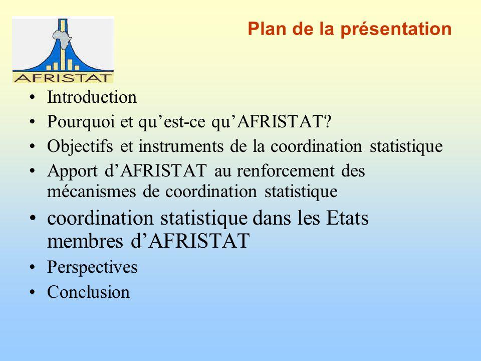 Plan de la présentation Introduction Pourquoi et quest-ce quAFRISTAT.