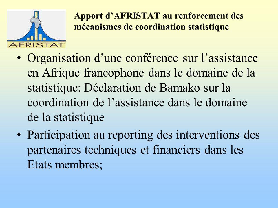 Apport dAFRISTAT au renforcement des mécanismes de coordination statistique Organisation dune conférence sur lassistance en Afrique francophone dans le domaine de la statistique: Déclaration de Bamako sur la coordination de lassistance dans le domaine de la statistique Participation au reporting des interventions des partenaires techniques et financiers dans les Etats membres;