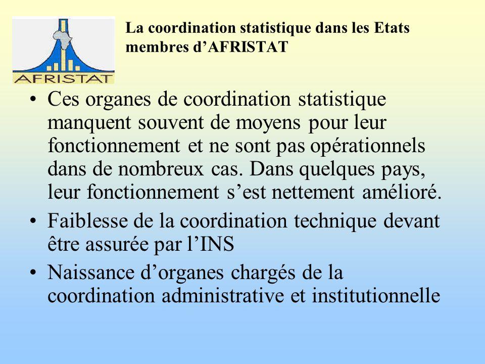 La coordination statistique dans les Etats membres dAFRISTAT Ces organes de coordination statistique manquent souvent de moyens pour leur fonctionnement et ne sont pas opérationnels dans de nombreux cas.