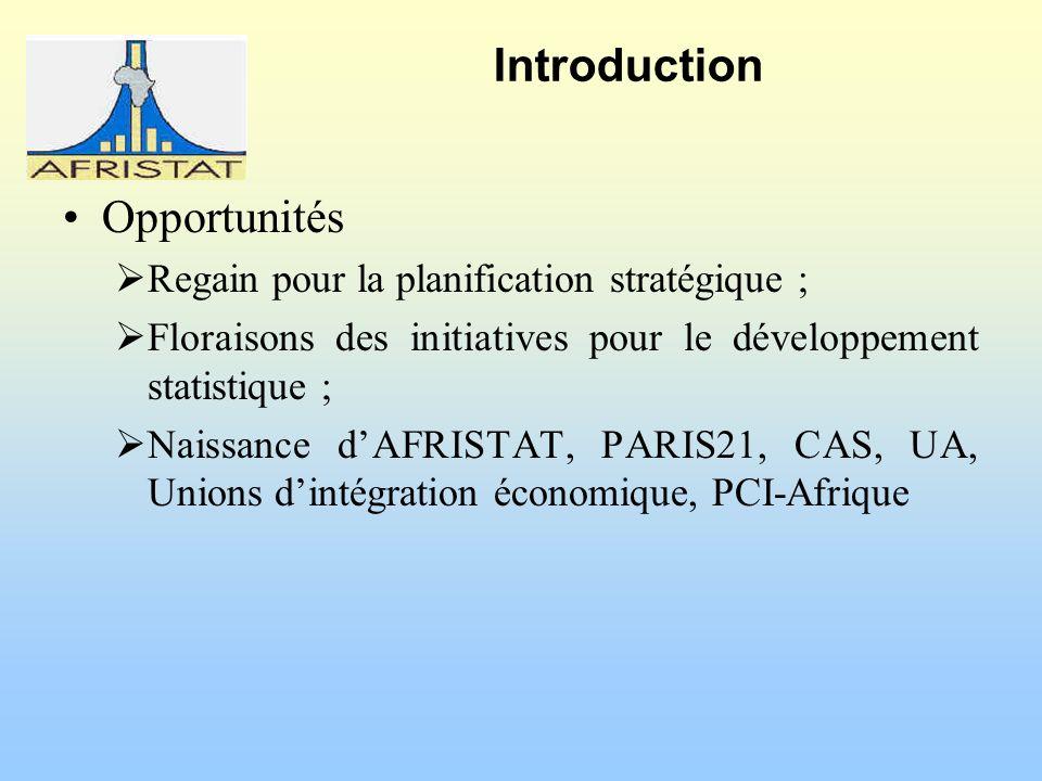 Introduction Opportunités Regain pour la planification stratégique ; Floraisons des initiatives pour le développement statistique ; Naissance dAFRISTAT, PARIS21, CAS, UA, Unions dintégration économique, PCI-Afrique