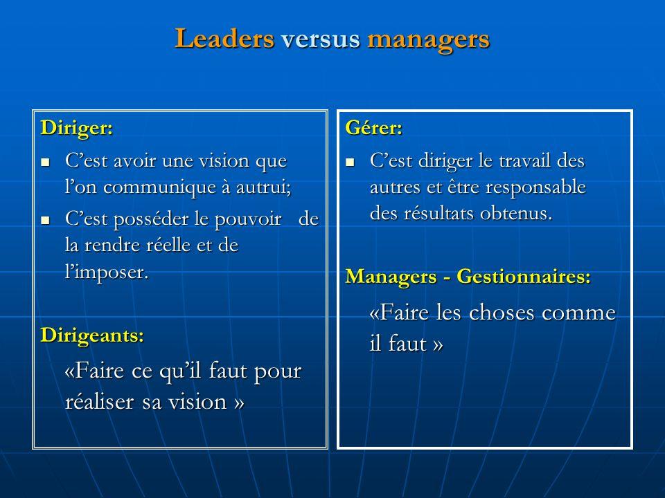 Leaders versus managers Diriger: Cest avoir une vision que lon communique à autrui; Cest avoir une vision que lon communique à autrui; Cest posséder le pouvoir de la rendre réelle et de limposer.