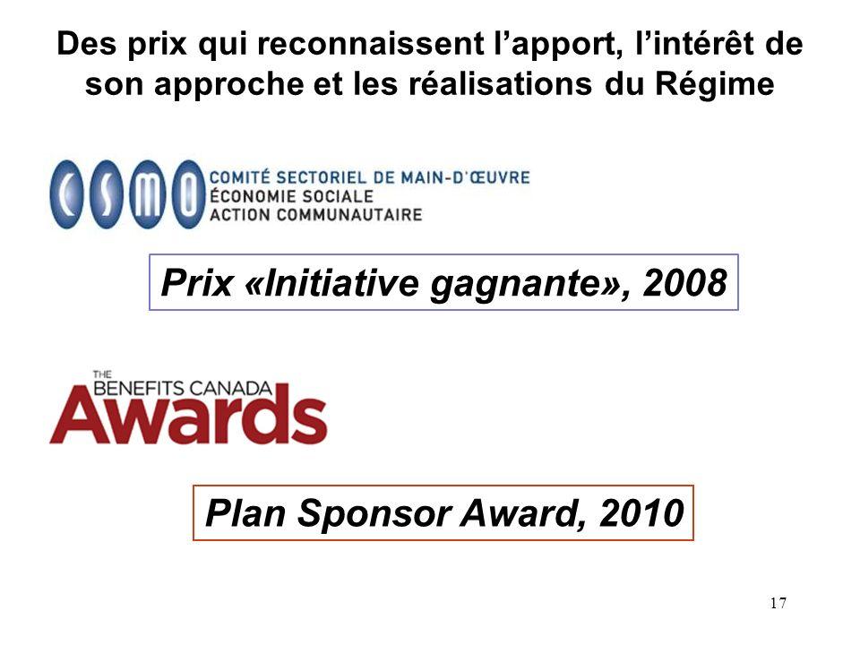 17 Des prix qui reconnaissent lapport, lintérêt de son approche et les réalisations du Régime Prix «Initiative gagnante», 2008 Plan Sponsor Award, 2010