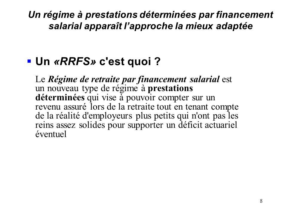 Un régime à prestations déterminées par financement salarial apparaît lapproche la mieux adaptée Un «RRFS» c est quoi .