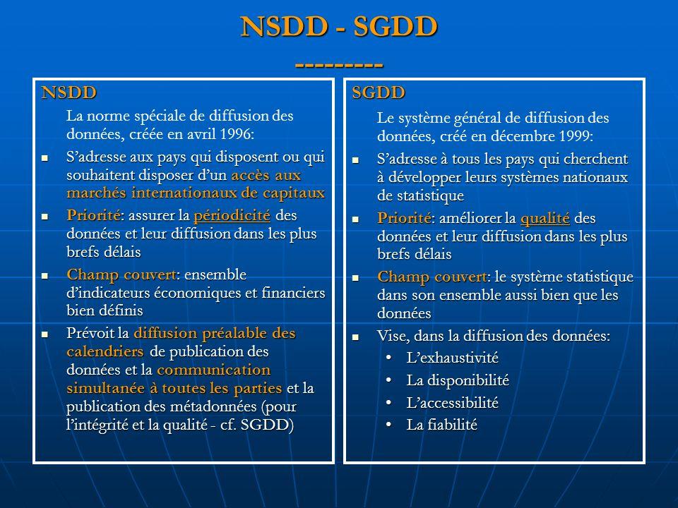 NSDD - SGDD --------- NSDD La norme spéciale de diffusion des données, créée en avril 1996: Sadresse aux pays qui disposent ou qui souhaitent disposer dun accès aux marchés internationaux de capitaux Sadresse aux pays qui disposent ou qui souhaitent disposer dun accès aux marchés internationaux de capitaux Priorité: assurer la périodicité des données et leur diffusion dans les plus brefs délais Priorité: assurer la périodicité des données et leur diffusion dans les plus brefs délais Champ couvert: ensemble dindicateurs économiques et financiers bien définis Champ couvert: ensemble dindicateurs économiques et financiers bien définis Prévoit la diffusion préalable des calendriers de publication des données et la communication simultanée à toutes les parties et la publication des métadonnées (pour lintégrité et la qualité - cf.