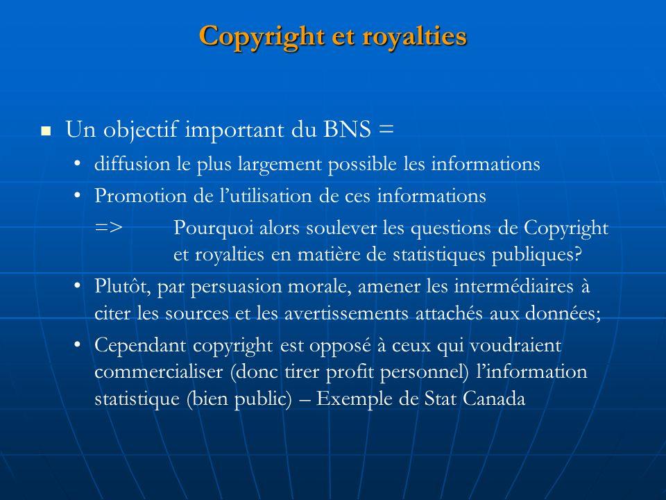 Copyright et royalties Un objectif important du BNS = diffusion le plus largement possible les informations Promotion de lutilisation de ces informations => Pourquoi alors soulever les questions de Copyright et royalties en matière de statistiques publiques.
