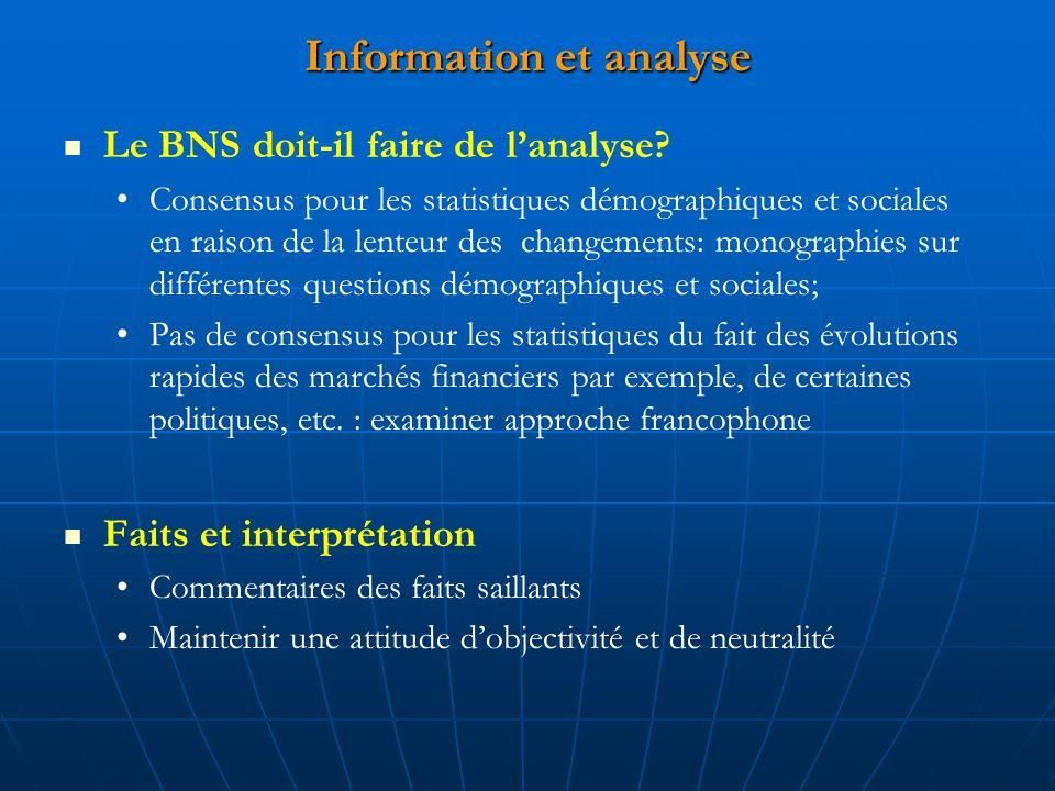 Information et analyse Le BNS doit-il faire de lanalyse.