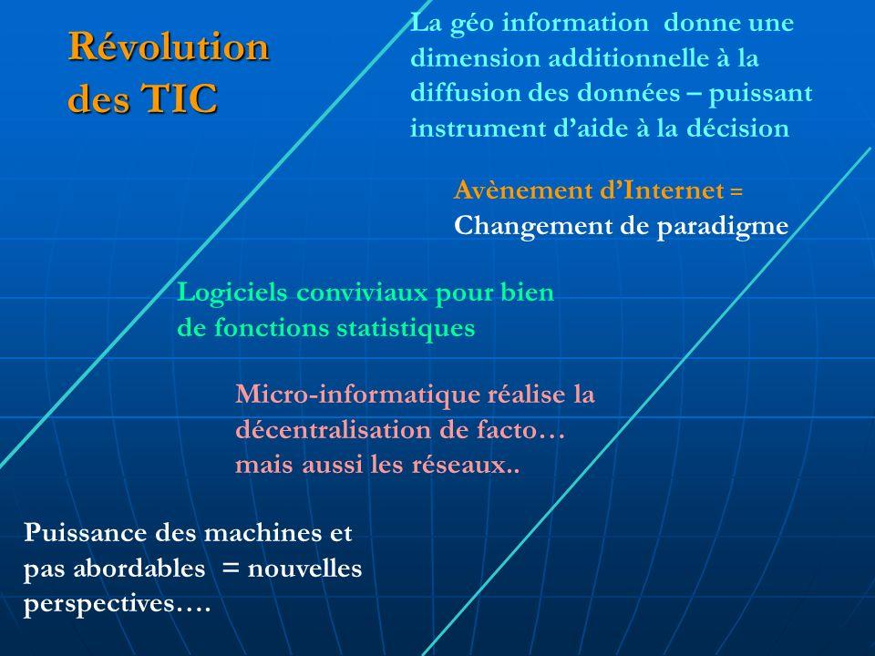 Révolution des TIC Logiciels conviviaux pour bien de fonctions statistiques Puissance des machines et pas abordables = nouvelles perspectives….