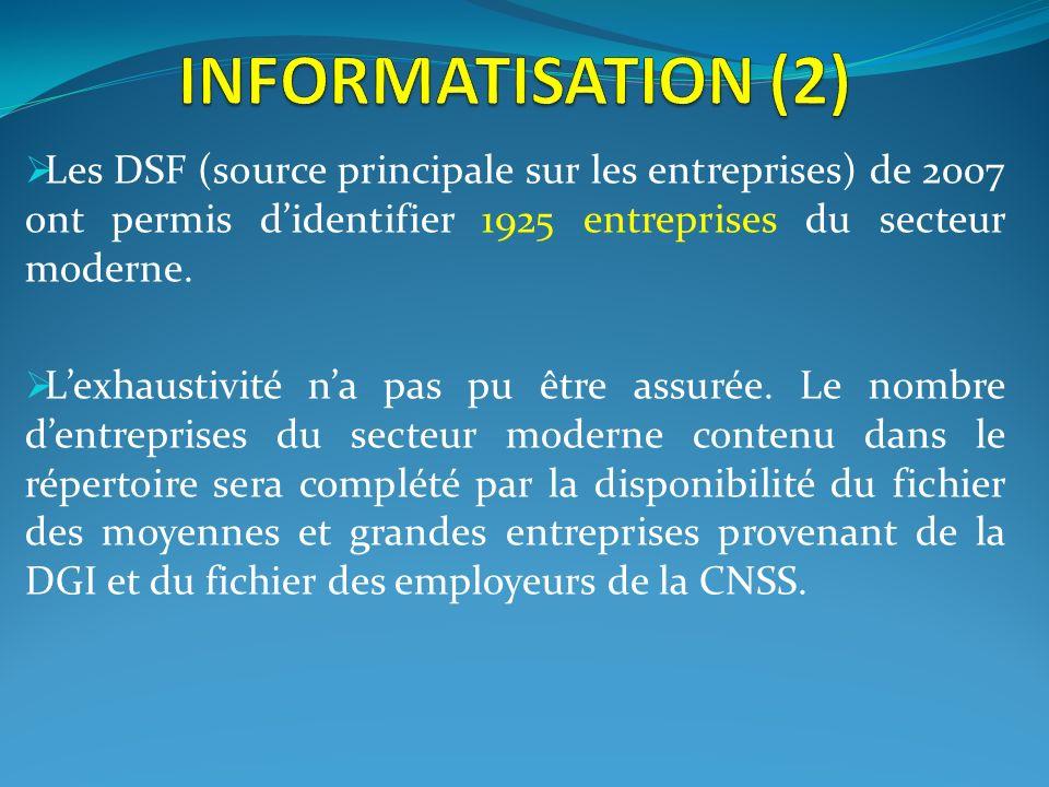 Les DSF (source principale sur les entreprises) de 2007 ont permis didentifier 1925 entreprises du secteur moderne. Lexhaustivité na pas pu être assur