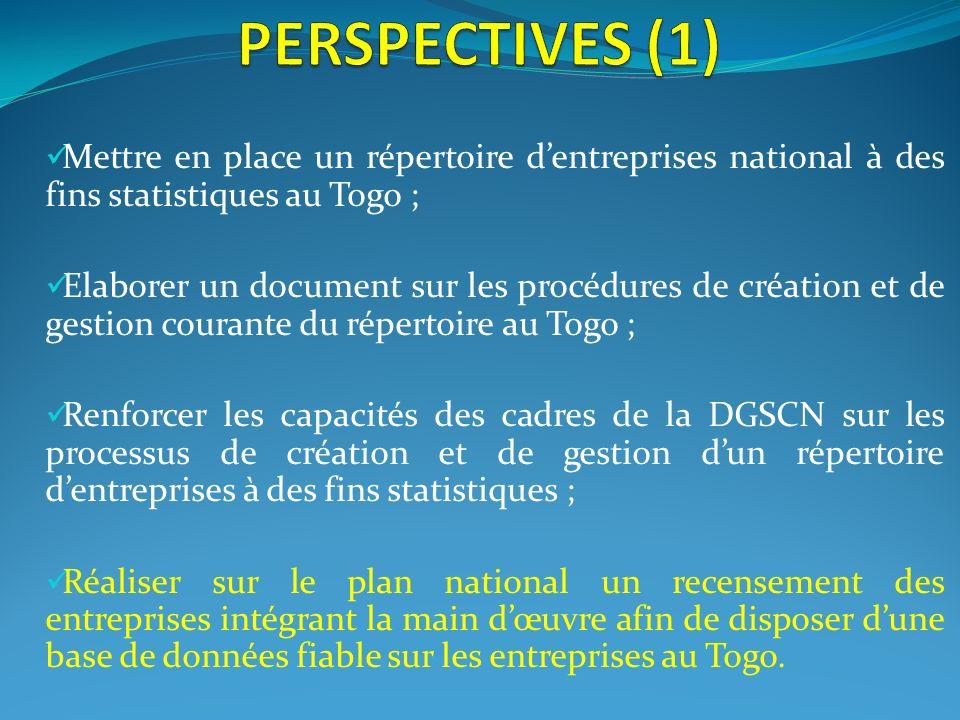 Mettre en place un répertoire dentreprises national à des fins statistiques au Togo ; Elaborer un document sur les procédures de création et de gestio