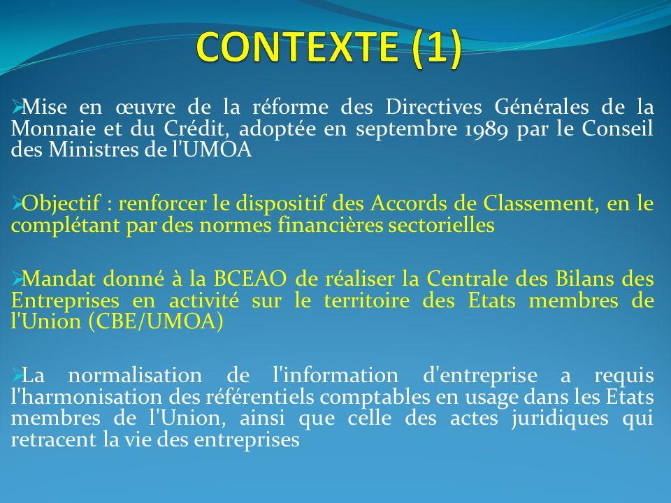 Mise en œuvre de la réforme des Directives Générales de la Monnaie et du Crédit, adoptée en septembre 1989 par le Conseil des Ministres de l'UMOA Obje