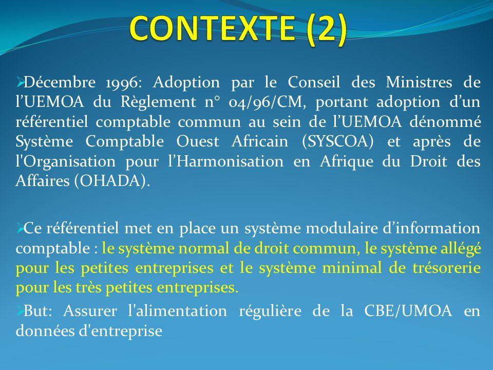 Décembre 1996: Adoption par le Conseil des Ministres de lUEMOA du Règlement n° 04/96/CM, portant adoption dun référentiel comptable commun au sein de