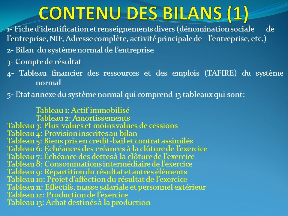 1- Fiche didentification et renseignements divers (dénomination sociale de lentreprise, NIF, Adresse complète, activité principale de lentreprise, etc