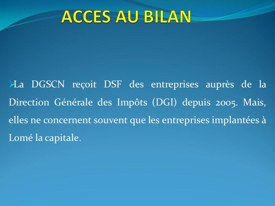 La DGSCN reçoit DSF des entreprises auprès de la Direction Générale des Impôts (DGI) depuis 2005. Mais, elles ne concernent souvent que les entreprise