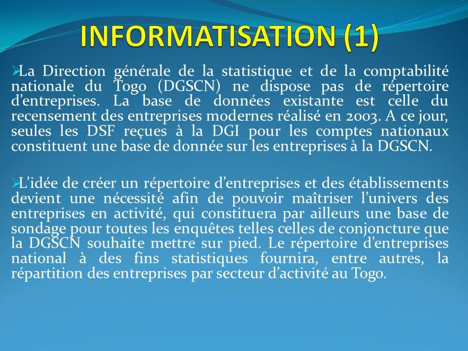 La Direction générale de la statistique et de la comptabilité nationale du Togo (DGSCN) ne dispose pas de répertoire dentreprises. La base de données