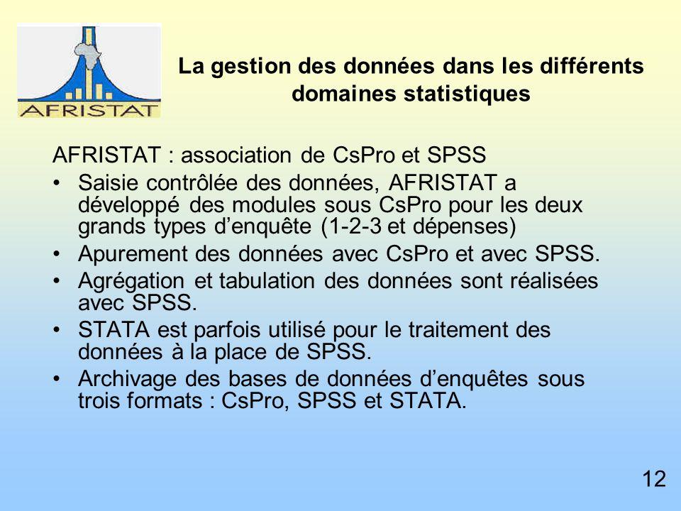 La gestion des données dans les différents domaines statistiques AFRISTAT : association de CsPro et SPSS Saisie contrôlée des données, AFRISTAT a développé des modules sous CsPro pour les deux grands types denquête (1-2-3 et dépenses) Apurement des données avec CsPro et avec SPSS.