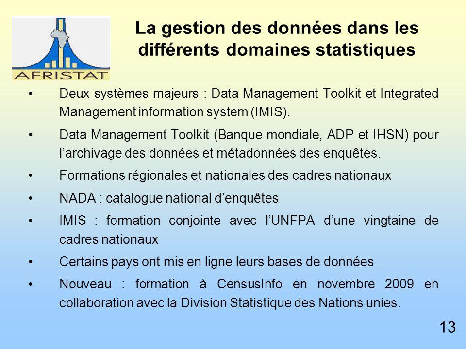 La gestion des données dans les différents domaines statistiques Deux systèmes majeurs : Data Management Toolkit et Integrated Management information system (IMIS).